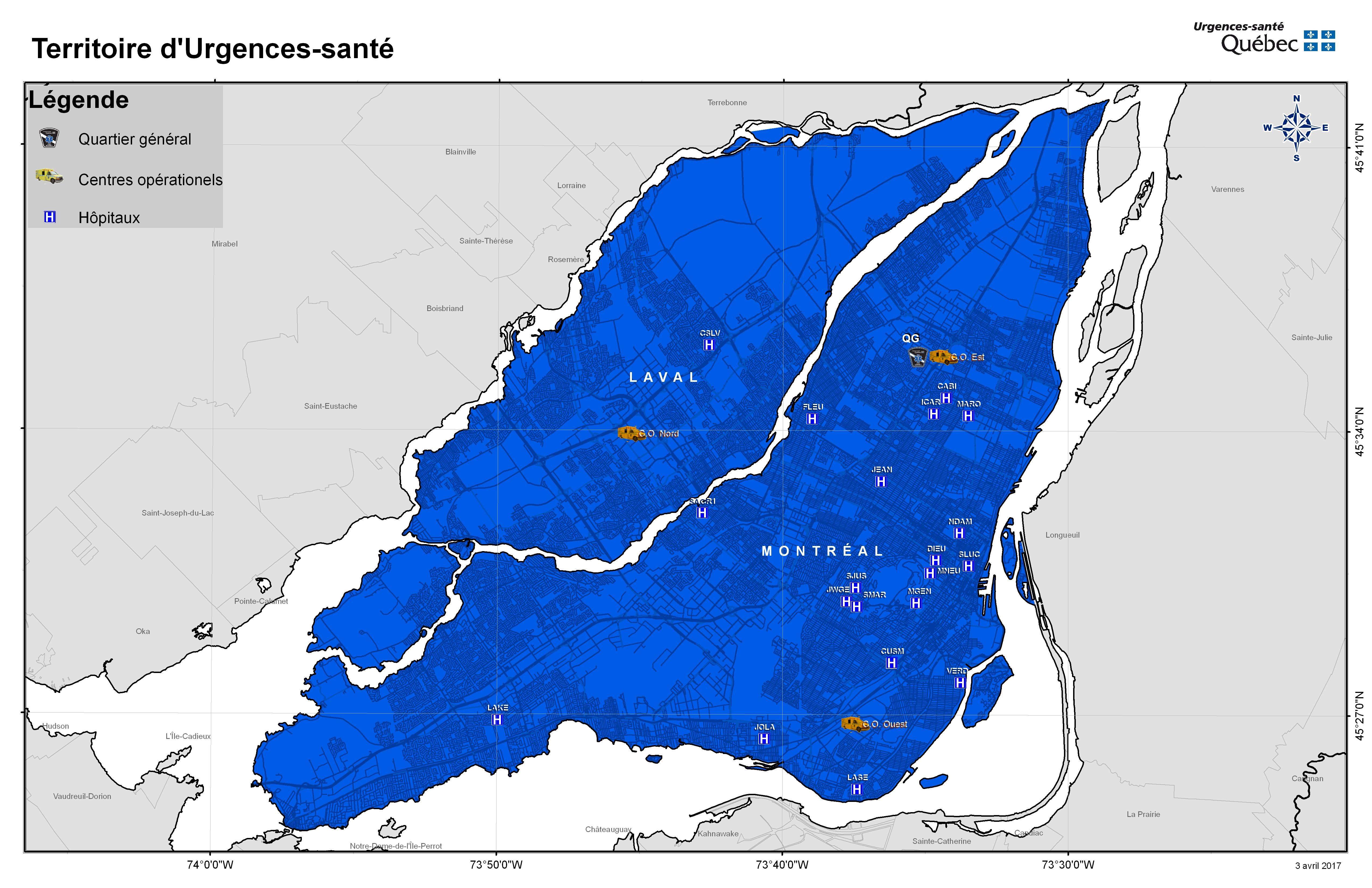Carte du territoire d'Urgences Santé